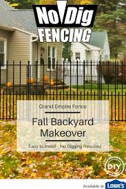 No Dig Grand Empire 3 37 Ft H X 4 12 Ft W Black Steel Pressed Point Decorative Fence Panel Lowes Com Backyard Fences Fence Landscaping Desert Landscaping