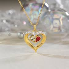 birthstone diamond heart pendant