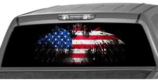 American Flag Eagle Rear Window Graphic Decal Tint Perf Etsy