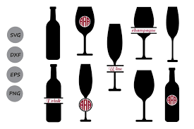 wine glass monogram svg