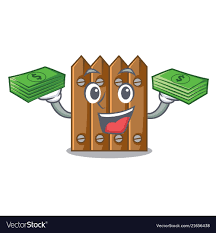 With Money Cartoon Wooden Fence Over The Grass Vector Image