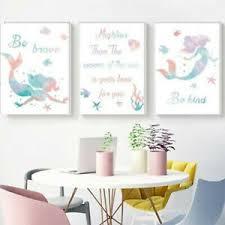 Llittle Mermaid Be Brave Be Kind Canvas Print Home Kids Room Decor Wall Painting Ebay