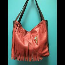 black brown leather fringe purse