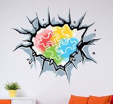 Amazon Com Autism Awareness Breaking Wall Decal Autism Puzzle Symbol Open Wall Effect Vinyl Art Be Inclusive Design For Playroom Neutral Gender Room Home Decoration Cg807 22 Width By 20 Height Home