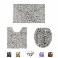 3 piece bathroom rug set silver gray