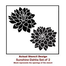 Sunshine Dahlias 2 Piece Stencil Kit Floral Wall Stencils For Diy Home Decor