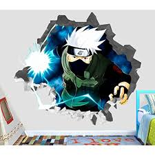 Naruto Kakashi Hatake Wall Decal Smashed 3d Sticker Vinyl Decor Mural Manga Art Broken Wall 3d Designs Op358 S Wall Stickers Murals Vinyl Decor Manga Art