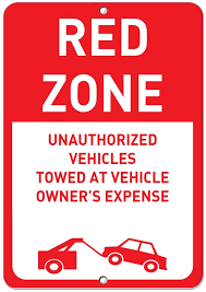 Red Zone Unauthoriz Ed Vehicles Towed Away Parking Sign Label Decal Sticker Sticks To Any Surface Exterior Accessories Amazon Canada