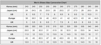 men shoe size chart shoes