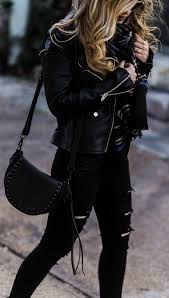 all black winter outfit leather