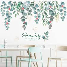 Amazon Com Green Life Tropical Leaves Wall Decal Hanging Tree Vine Wall Stickers Fresh Green Plants Wall Art Murals Wall Decor For Living Room Kids Girls Babys Bedroom Office Nursery Classroom Home Decoration