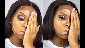 half face mask makeup tutorial
