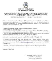 BANDO PUBBLICO PER L'INDIVIDUAZIONE DI N. 100 FAMIGLIE PIANEZZESI ...