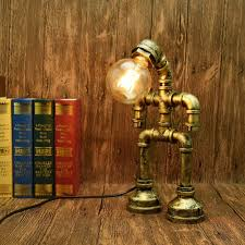 Amazon Com Axwt Edison Robotic Water Pipe Table Lamp Industrial Rust Iron Light Antique Steampunk Metal Desk Bedside Lighting Fixture For Reading Kids Room Cafe Bar Retro Pipes Robot Lamp Desktop Lamp Loft