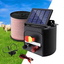 Giantz 5km Solar Electric Fence Energiser Energizer Battery Charger Cattle Horse Electric Fence Energizer Solar Electric Fence Solar Electric