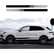 Amazon Com Practlsl Car Decals Sports Racing Stripe Graphic Stickers And Decals For Cars Car Vinyl Decal Car Body Side Door Black Automotive