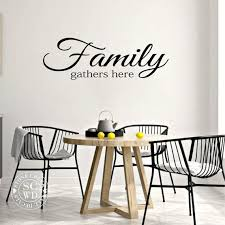 Family Gathers Here Wall Decal Kitchen Wall Decal Dining Room Etsy