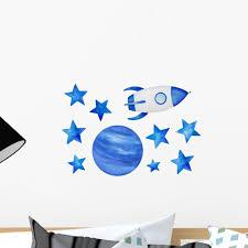 Blue Stars Cosmic Spaceship Wall Decal Sticker Set Wallmonkeys Com