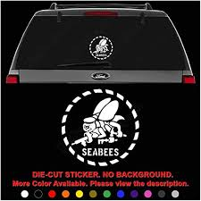 Amazon Com Us Navy Seabees Die Cut Vinyl Decal Sticker For Car Truck Motorcycle Vehicle Window Bumper Wall Decor Laptop Helmet Size 8 Inch 20 Cm Tall Color Gloss White