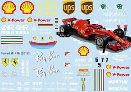 Ferrari Sf 71h 2018 Decal Sheet F1 Brpd1359