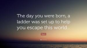 """rumi quote """"the day you were born a ladder was set up to help"""