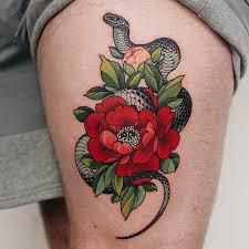 Snake and peony tattoo by Yuuz #Yuuz #snaketattoos #color #snake ...