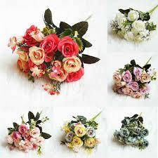 1 باقة ورد جميل الفاوانيا زهور صناعية من الحرير الصغيرة الزفاف