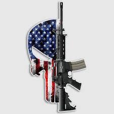 American Flag Punisher Skull Gun Decal Assault Rifle Sticker