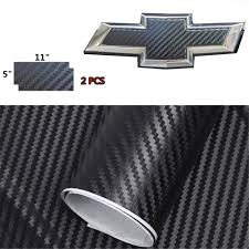 Amazon Com Xyc Compatible With Chevrolet 2 Pcs Carbon Fiber For Chevy Bowtie Emblem Overlay Sheets Front Back Vinyl Decal Wrap Automotive