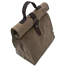 com waxed canvas lunch bag