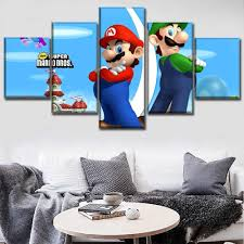 Canvas Game Poster Wall Art Framework 5 Piece Super Mario Bros Classic Cartoon Painting Hd Printed Type Pictures For Kids Room Painting Calligraphy Aliexpress