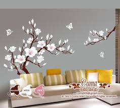 White Cherry Blossom Vinyl Wall Decals Tree Office Wedding By Cuma Vinyl Tree Wall Decal Nursery Wall Murals Flower Wall Decals