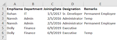 removing duplicates in an excel sheet