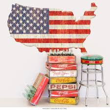 American Flag United States Map Wall Decal At Retro Planet