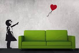Banksy Wall Decal Balloon Girl With Heart Balloon Banksy Vinyl Street Art Wall Sticker Graffiti Wall Stickers Urban Interior Home Decor Graffiti Wall Banksy Wall Stickers