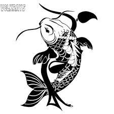Volkrays Creative Car Sticker Koi Fish Traditional Japanese Accessories Reflective Waterproof Vinyl Decal Black Silver 19cm 14cm Car Stickers Aliexpress