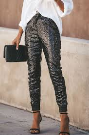 black faux leather sequin casual pants