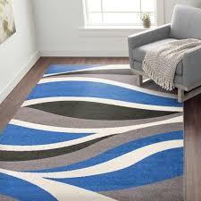 wavy blue black gray area rug rug size