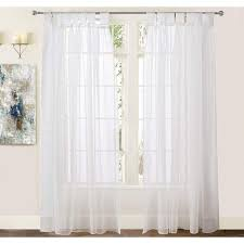Driftaway Vintage Ruffle White Solid Sheer Curtain Faux Linen Texture Tab Top Window Voile Panel For Bedroom Living Room Kids Room Set Of Two Panels Each 50 X84 Off White Walmart Com