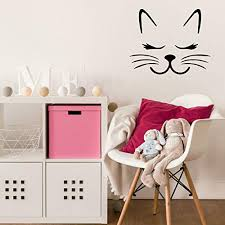 Customvinyldecorcustomvinyldecor Kitty Cat Wall Decor Cat Eyelashes Vinyl Wall Decal For Bedroom Cat Themed Decor Or Birthday Decorations Animal Lover Wall Sticker Vinyl Sticker For Laptop Small And Large Dailymail