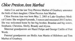 Chloe Preston Ann Marbut, b.2003, daughter of Troy Preston Marbut. -  Newspapers.com