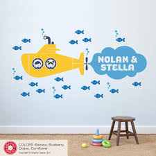 Cute Kids Submarine Wall Decal 2 Siblings Twins Personalized Name Graphic Spaces