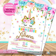 48 Invitaciones Unicornio Para Editar Gratis Baby Shower
