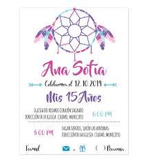 Invitacion Xv Anos Atrapasuenos Morado Invitaciones Digital E