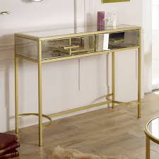 gold antique mirrored console table