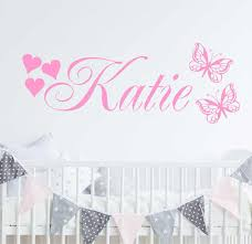 Posh Personalised Name Decals Butterflies And Hearts Wall Sticker Custom Kids Girls Names Bedroom Nursery Vinyl Wall Decal D850 Wall Stickers Aliexpress