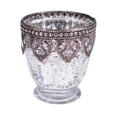 silver mercury votive candle holder on