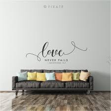 Bible Wall Sticker Quote Bible Verse Love Never Fails Bible Scripture Wall Decal Art Vinyl Wall Decor Living Room Decal House Warming Entry Wall Vinyl Decor Wall Decor Living Room Living