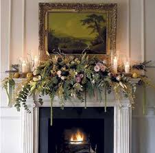 mantel decorated with greens