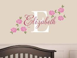 Rose Name Decal Custom Vinyl Decal Girl Nursery Children Tweet Heart Home Design